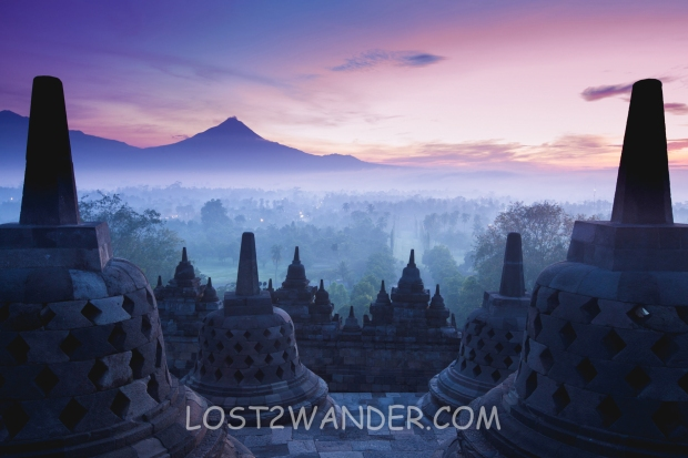 31833385 - borobudur temple is sunrise, yogyakarta, java, indonesia.
